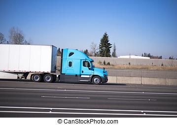 Nice profile semi truck blue green dry van trailer on...