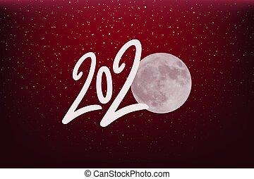 nice red 2020 year moon