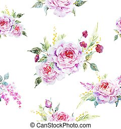 Nice rose pattern - Beautiful vector pattern with nice ...