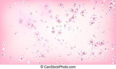 Nice Sakura Blossom Isolated Vector. Feminine Falling 3d Petals Wedding Paper. Japanese Nature Flowers Illustration. Valentine, Mother's Day Spring Nice Sakura Blossom Isolated on Rose