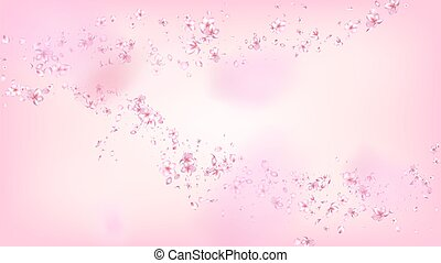 Nice Sakura Blossom Isolated Vector. Tender Falling 3d Petals Wedding Pattern. Japanese Nature Flowers Wallpaper. Valentine, Mother's Day Beautiful Nice Sakura Blossom Isolated on Rose