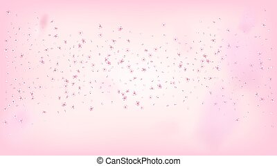 Nice Sakura Blossom Isolated Vector. Watercolor Flying 3d Petals Wedding Border. Japanese Blurred Flowers Illustration. Valentine, Mother's Day Tender Nice Sakura Blossom Isolated on Rose
