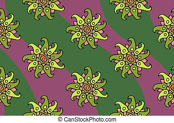 Nice seamless floral pattern with green flowers