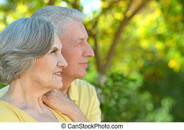 Nice senior couple - Portrait of nice senior couple outdoor...
