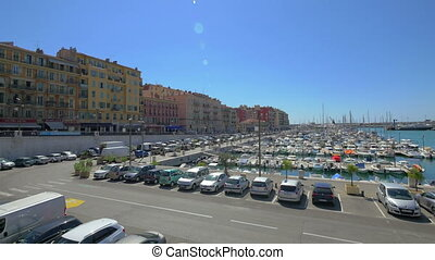 View on harbor of Nice, France - NICE - September 5, 2014:...