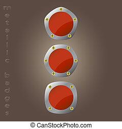 metallic badges