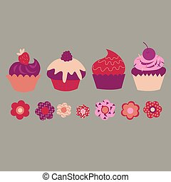 Nice set with different decorative cupcakes and flowers