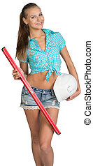 Nice sexy woman holding red building level and white helmet