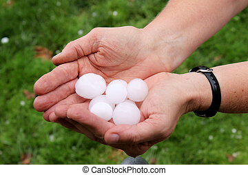 Nice Sized Hail - A pair of hands holding freshly dropped...