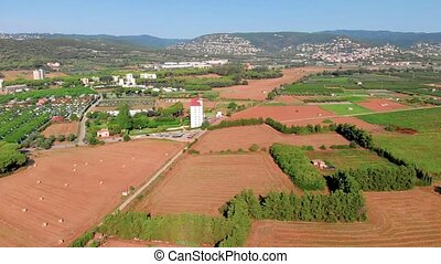 Nice spanish landscape drone footage, near the town Palamos