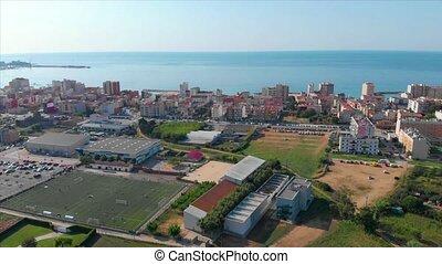 Nice spanish landscape drone footage, village Sant Antoni de...