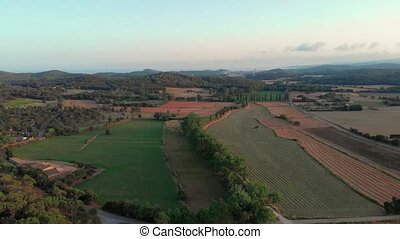 Nice spanish landscape make with drone near the town Palam?s