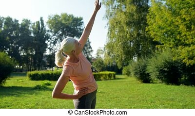 Nice sporty woman doing morning warm up exercises - No day...