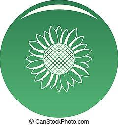 Nice sunflower icon vector green