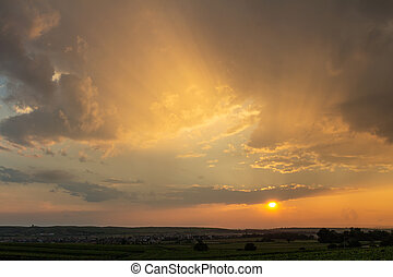 Nice sunset dramatic sky with landscape silhouette, Palava Czech republic
