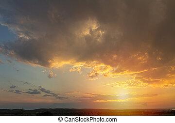 Nice sunset dramatic sky with vineyard land silhouette, Palava Czech republic