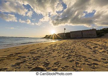 Nice sunset in a beach, Puerto Sherry, Puerto de Santa Maria