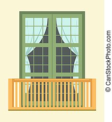 Nice tall broad windows in European style with small cozy...