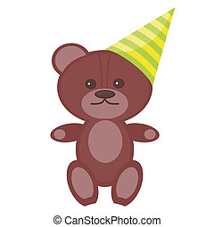 nice teddy bear in party cap