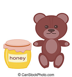 nice teddy bear with honey on white