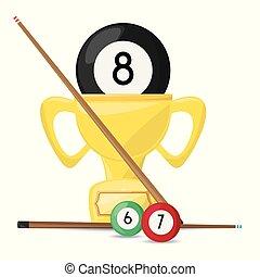 nice trophy of pool billiard game