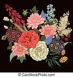 Beautiful vector image with nice vhand drawn flowers