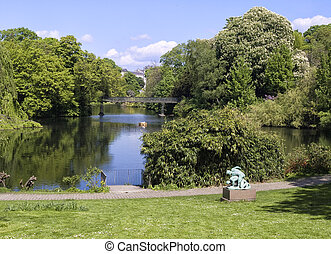 Nice view of a park in Copenhagen, Denmark.