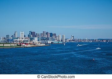 View of Boston from Harbor Under Clear Blue sky
