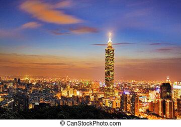 Nice view of Taipei, Taiwan evening