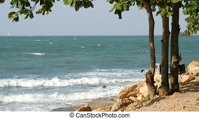 Nice view of the sea. The waves beat on the stony shore and there is tree. Picturesque landscape