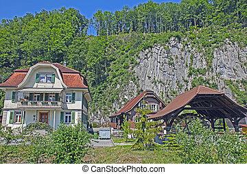 Nice Village in Alps , Switzerland