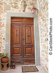 nice vintage doorway in Tuscany, Italy, Europe