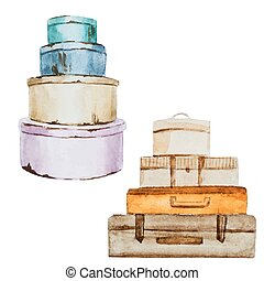 Nice watercolor baggage - Beautiful vector image with nice ...