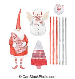 Nice watercolor christmas vector set
