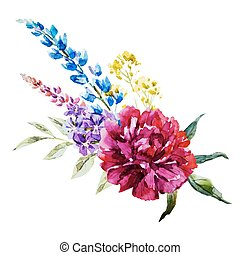Nice watercolor flowers - Beautiful vector image with nice ...