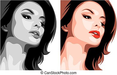 nice woman head isolated on the white background