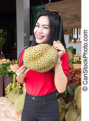 Nice Woman holding Durian