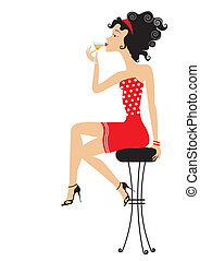 Nice woman is sitting in club and drinking cocktail isolated on w