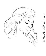 Nice woman outline portrait