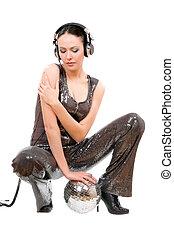 Nice young brunette in headphones