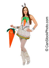 Nice young woman with a carrot