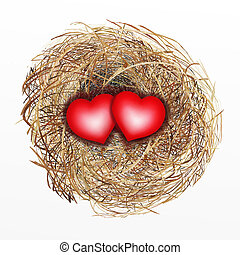 Nicely Built Bird Nest with Two Red - Love Concept, Two...