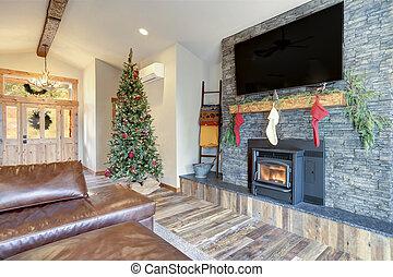 nicely, christmas., díszes, belső, otthon