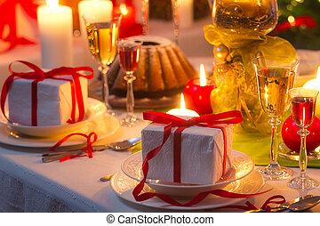 nicely, table, décoré, recette, noël