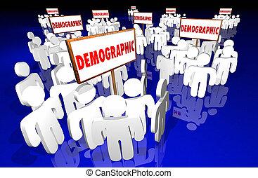 niche, cible, démographique, communauté, groupes, signes, marché, 3d