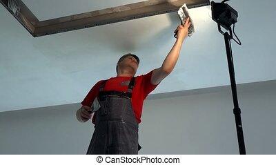 niche, filler, ceiling., ouvrier, spatule, éclairage, ...