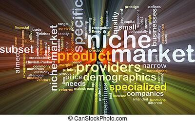 Niche market background concept glowing