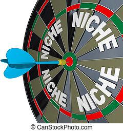 Niche Words on Dartboard Dart Hones on Specialized Demo