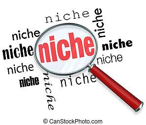 nicho, apuntar, -, vidrio, descubrimiento, aumentar
