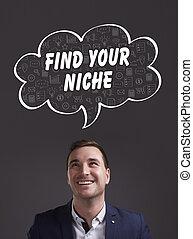 nicho, marketing., tecnología, pensamiento, about:, hallazgo, joven, empresa / negocio, internet, hombre de negocios, su